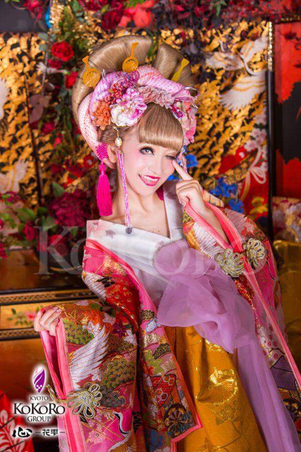 京都のインスタ映えスポット心花雫の花魁体験