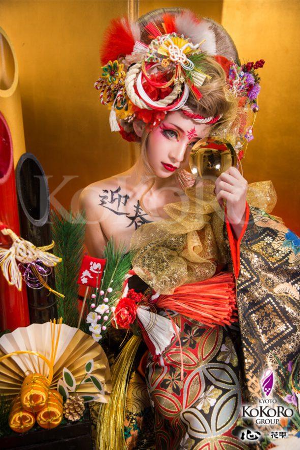 お年玉キャンペーンお正月花魁&稲穂舞妓でお正月を写そう