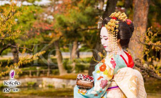 紅葉の建仁寺で特別な野外撮影舞妓体験