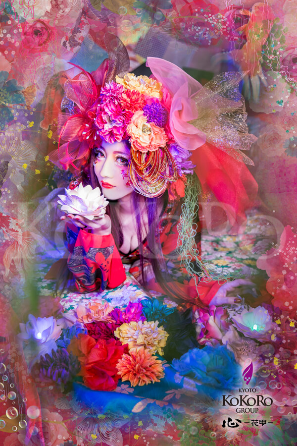 金魚の擬人化花魁は今年のテーマはアートアクアリウムをモチーフにした金魚花プラン